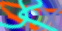 Blue Orange Violet Purple Circular Abstract Background With Arrows