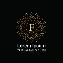 Luxury Gold Monogram Ornament Letter F Logo Design Vector Icon