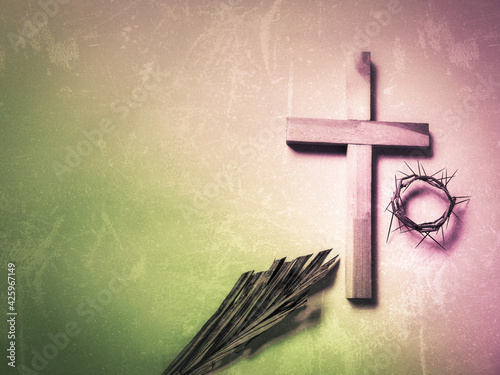Canvas Print Lent Season,Holy Week and Good Friday concepts - Lenten and religious symbol in purple and green colors background