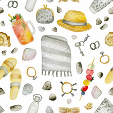 Watercolor Seamless Pattern With Summer Items -  Beach Mat, Bracelets, Wallet, Hat, Sunglasses,  Bottle, Sea Shells, Flip-flops. Isolated On White. Ideal For Summer Poster, Card. Summer Background