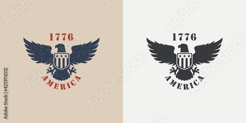 Set of color illustrations of an eagle, a shield with stars and text on a background with a grunge texture Fototapet