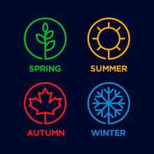 Four Season Element Design Vector