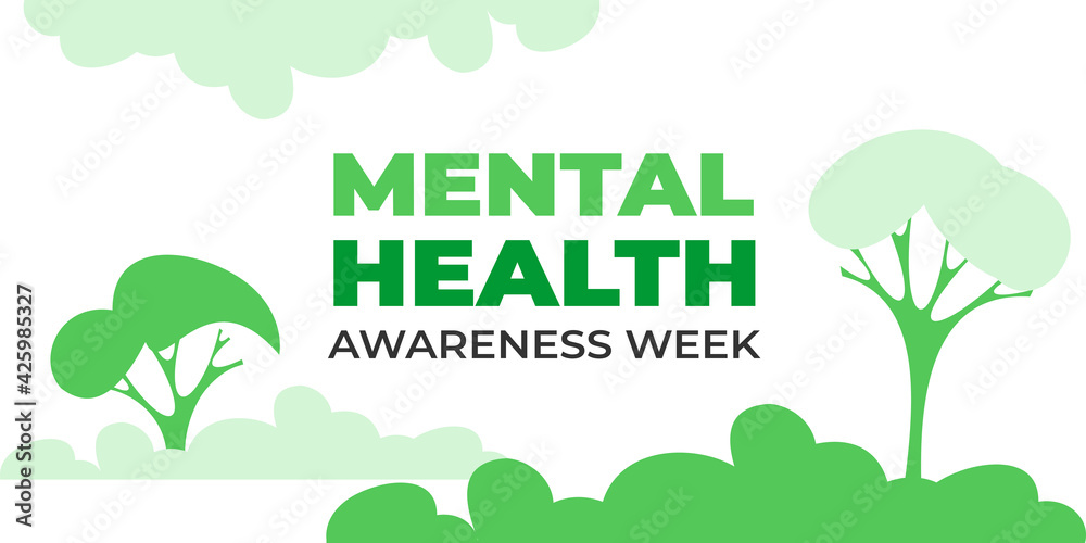 Fototapeta National mental health awareness week. Vector web banner for social media, poster, card, flyer. Text National mental health awareness week. Background, illustration with nature, trees, mental concept.