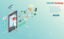 Online Cooking Streaming Broadcast. Woman Cooking On Smartphone Screen With Food Ingredients And Social Network Connecting Icons.