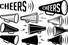 Cheer Megaphone SVG Cut Files   Megaphone SVG   Cheer Silhouette Bundle