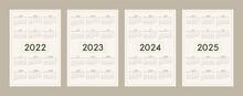 2022 2023 2024 2025 Calendar Template Set In Minimalist Trendy Eco Style, Pastel Beige Olive Natural Color Palette. Week Starts On Sunday