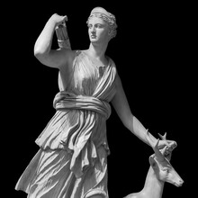 Ancient Sculpture Diana Artemis. Goddess Of Of The Moon, Wildlife, Nature And Hunting. Classic White Marble Statuette Isolated On Black Background