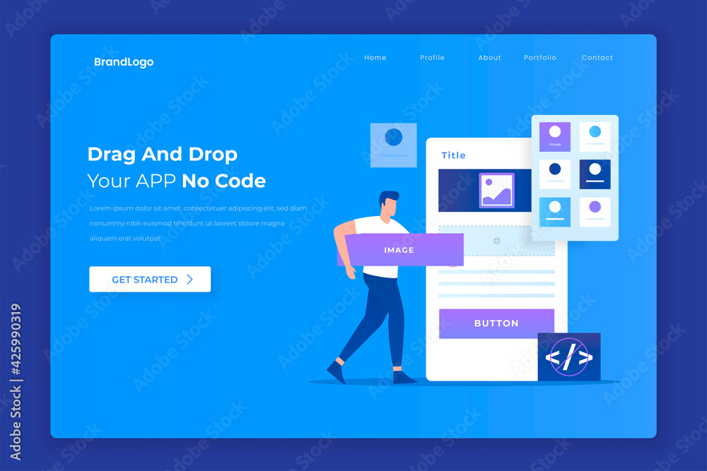 Fototapeta Flat design of drag and drop app builder concept. Illustration for websites, landing pages, mobile applications, posters and banners