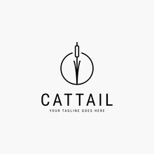 Cattail Line Art Minimalist Logo Vector Illustration Design
