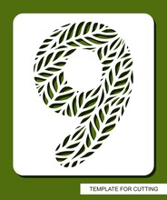Stencil With The Number Nine - 9. Carved Floral Pattern Of Leaves, Twigs. Eco Sign, Number, Oval Symbol. Plant, Environment Theme. Template For Laser Plotter Cutting Of Paper, Cardboard, Plastic, Cnc.