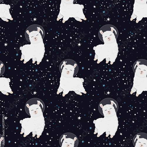 Fototapeta premium Seamless pattern with cute alpaca astronaut on starry space background. Perfect for wrapping paper, posters, fabric and other design. Cute llama