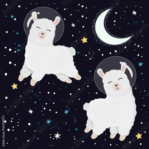 Fototapeta premium Illustration with cute alpaca astronauts on starry space background. Perfect for posters, greeting cards and other design. Cute llama