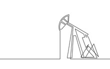 Single Continuous Line Art Oil Pump Station. Oil Gas Economy Industrial Concept. Petrol Transportation Gasoline Silhouette Design. One Sketch Outline Drawing Vector Illustration
