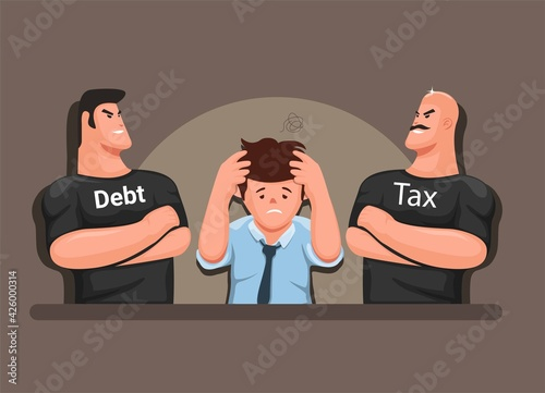 Stressed man with tax and debt collectors, finance management business symbol ca Fototapeta