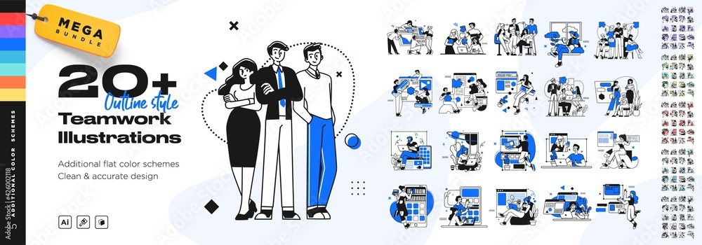 Fototapeta Business Teamwork illustrations. Mega set. Collection of scenes with men and women taking part in business activities. Trendy style