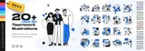 Business Teamwork illustrations. Mega set. Collection of scenes with men and women taking part in business activities. Trendy style