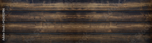 Fototapeta old brown rustic dark wooden texture - wood timber background panorama long banner. obraz