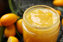 Delicious Kumquat Jam In Jar, Closeup View