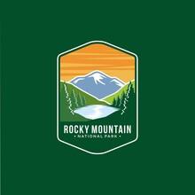 Illustration Of Rocky Mountains National Park Emblem Patch Logo