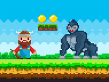 Pixelated Natural Landscape With Warrior Viking Holding Wooden Club Fighting Against Big Gorilla