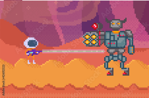 Obraz Pixelated alien in space suit with blaster shooting robot. Pixel characters with weapon are fighting - fototapety do salonu