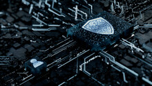 Security Technology Concept With Shield Symbol On A Microchip. White Neon Data Flows Between The CPU And The User Across A Futuristic Motherboard. 3D Render.