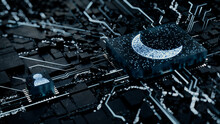 Night Mode Technology Concept With Moon Symbol On A Microchip. White Neon Data Flows Between The CPU And The User Across A Futuristic Motherboard. 3D Render.