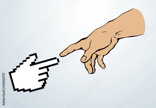 Foto Hands of the creation of Adam. Vector drawing
