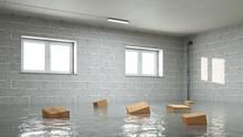 Wasserschaden Im Keller Mit Nassen Umzugskartons
