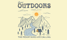 Great Outdoors Mountain Camping Vector Artwork Design For Any Kind Of Thinks