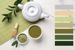 Composition with matcha tea on light background. Different color patterns