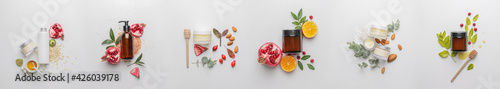 Fototapeta Set of natural cosmetic products on light background obraz