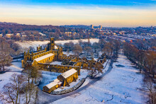 Kirkstall Abbey In Winter From A Bird View (drone Photography)
