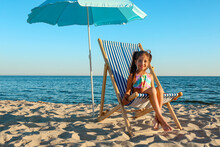 Cute Little Girl On Sea Beach