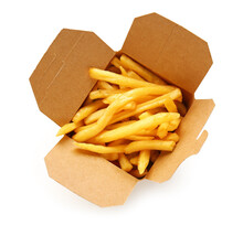Paper Box With Tasty French Fries On White Background