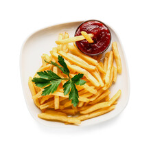 Plate With Tasty French Fries And Sauce On White Background