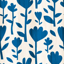 Blue Floral Seamless Pattern On Beige Background. Hand-painted Cute Spring Flowers.