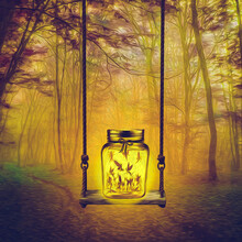 Firefly Fairies In A Jar In A Forest Glade.