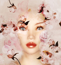 Cute Woman Face With A Floral Decoration Backdrop