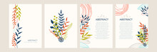 Set Of Floral Universal Artistic Templates With Leaf Line Art Bohemian Scandinavian Color Style. Good For Greeting Cards, Invitations, Flyers And Other Graphic Design. Square Floral Greeting Card