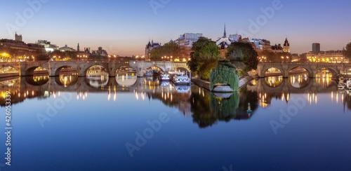 Canvas Print Paris. City embankment along the Seine river at dawn.