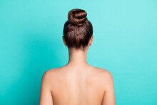 Rear Back Behind View Portrait Of Attractive Girl Fresh Pure Skin Bath Shower Isolated Over Bright Teal Turquoise Color Background