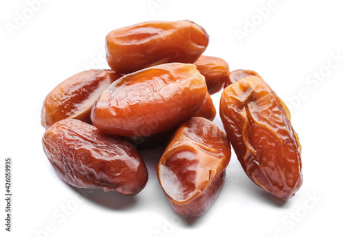 Sweet dried dates on white background Wallpaper Mural