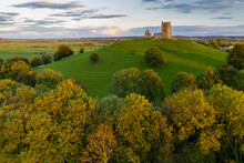 The Ruins Of St. Michael's Church On Burrow Mump In Somerset, England, United Kingdom