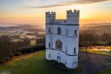 Sunrise At Haldon Belvedere (Lawrence Castle) In Winter, Devon, England, United Kingdom