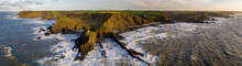 Aerial Panoramic Of Dramatic Coastline Near Hartland Point On The North Devon Coast In Winter, Devon, England, United Kingdom