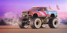3D Rendering Of A Brand-less Generic Monster Truck Doing Stunts
