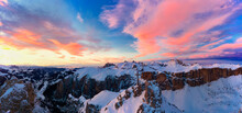 Pink Clouds In The Sky At Sunset Over Gran Cir And Odle Mountains Covered With Snow In Winter, Dolomites, South Tyrol, Italy