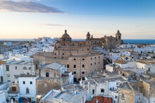 Church And White Buildings Of Ostuni, Aerial View, Province Of Brindisi, Salento, Apulia, Italy