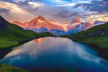 Wetterhorn, Schreckhorn And Finsteraarhorn At Sunset From Bachalpsee Lake, Grindelwald, Bernese Oberland, Switzerland